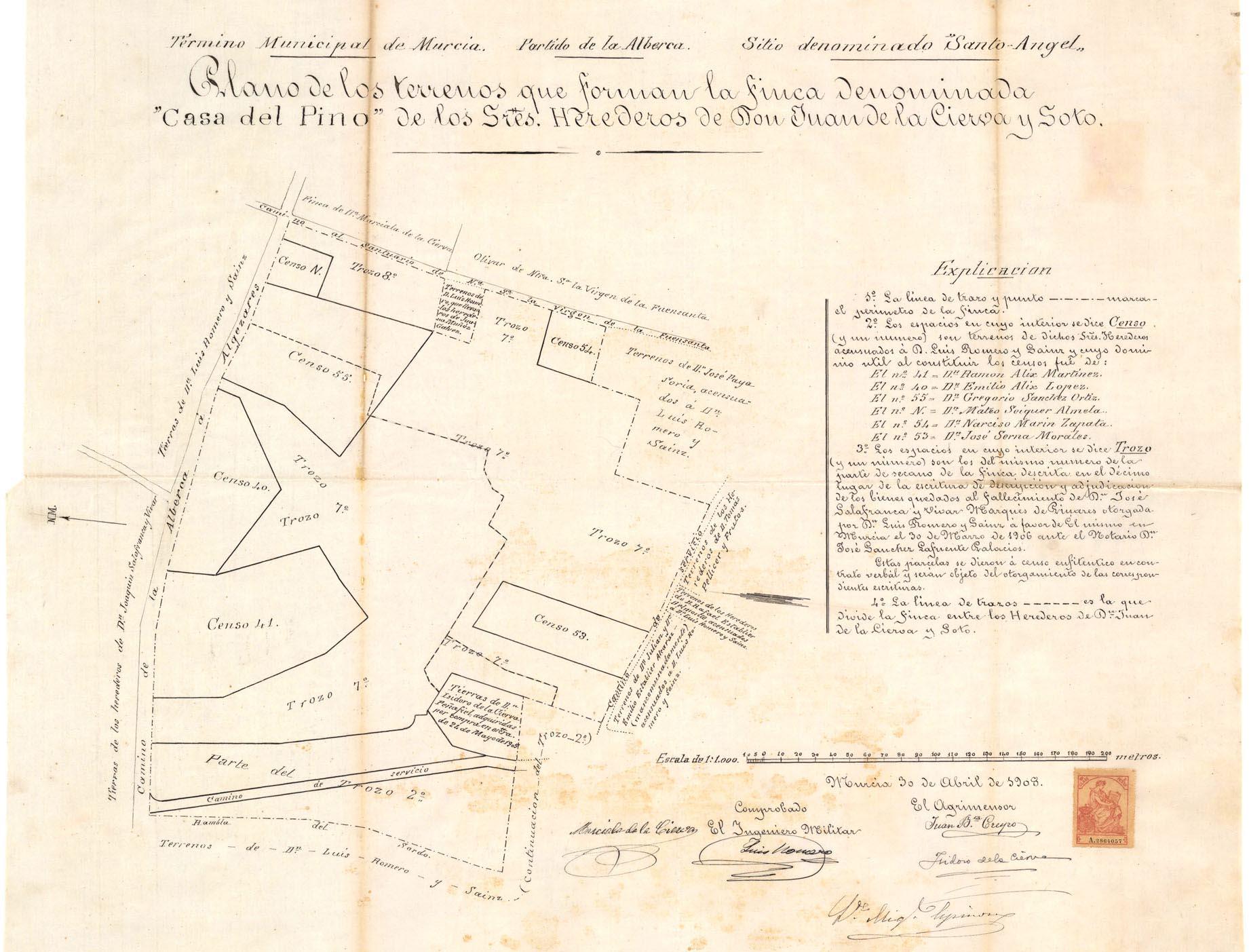 Plano casa del Pino en Santo Ángel