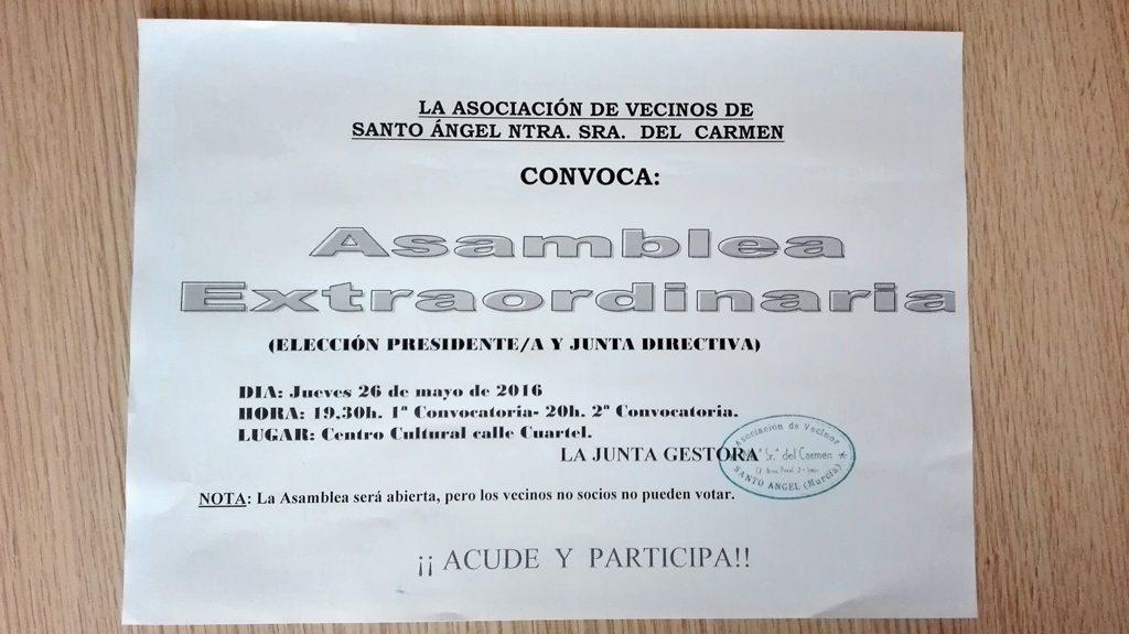 Asamblea extraordinaria asociación de vecinos Santo Ángel