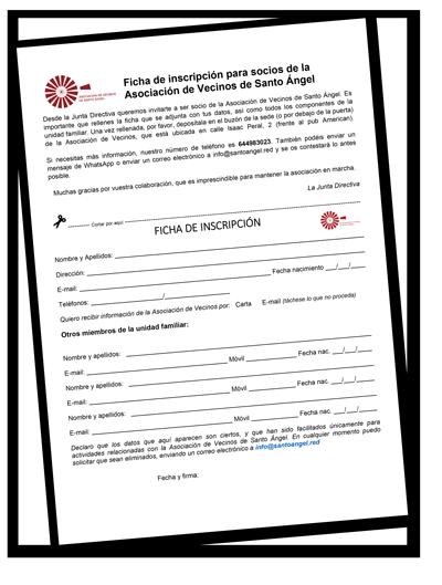 inscripción Asociación de Vecinos de Santo Ángel