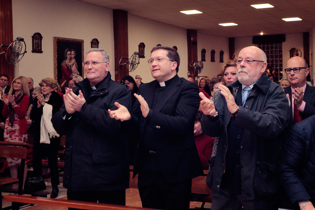 Obispo monseñor José Manuel Lorca Planes, D. Gines Amor Molina y Adrián Ángel Viudes