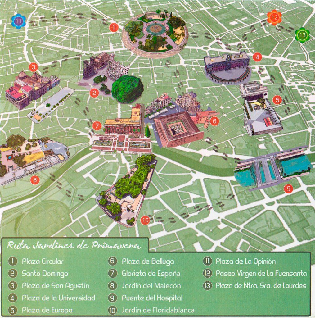 Plano de Murcia programa Jardines de Primavera