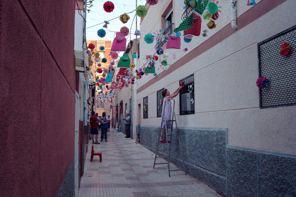 Adorno tradicional de calles de Santo Ángel