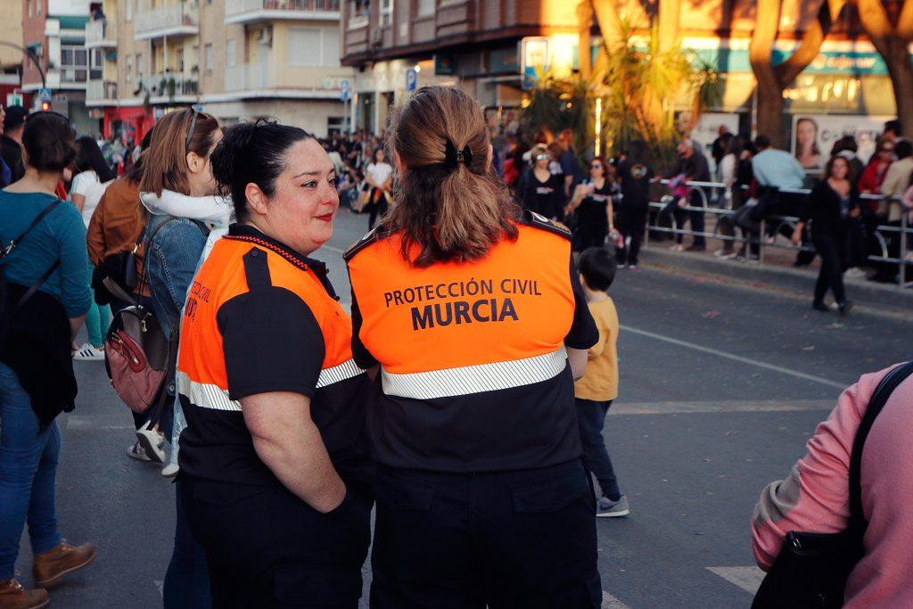 Protección civil en el desfile de carnaval