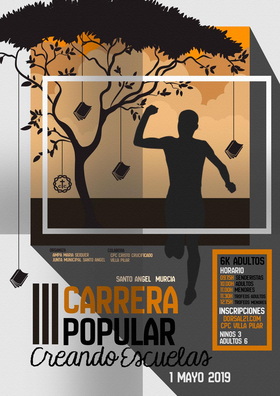 """Cartel Carrera Popular """"Creando Escuelas"""" de Villa Pilar"""