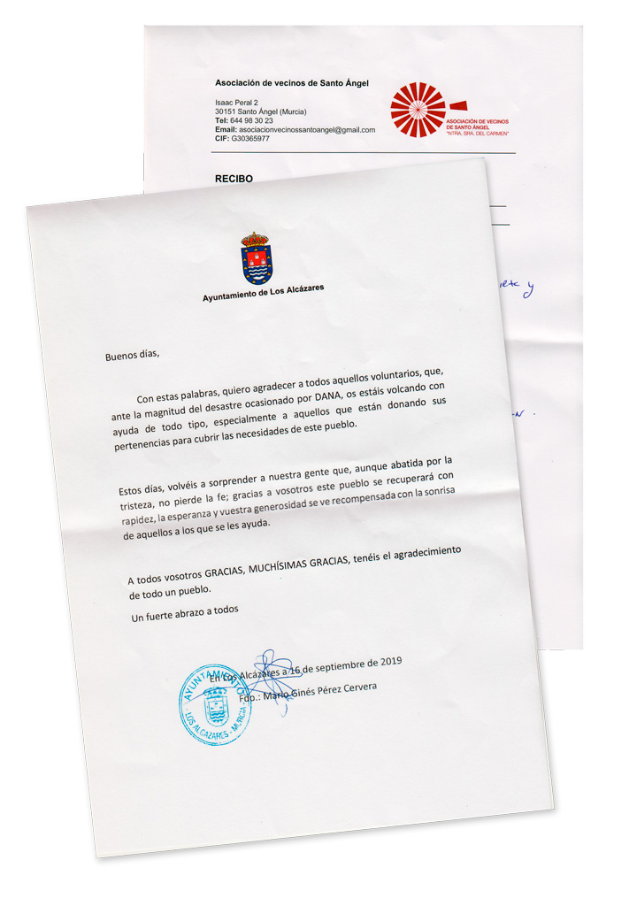 Carta del Ayuntamiento de los Alcázares