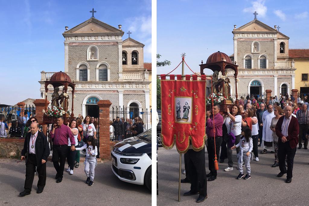 Procesión de las Santas Alodía y Nunilón saliendo la eremitorio la Luz