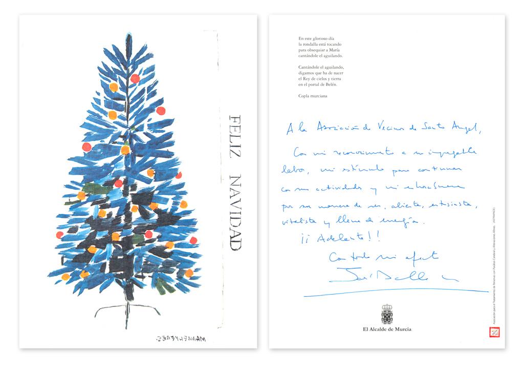 Postal Navidad Alcalde de Murcia, Don José Ballesta Germán