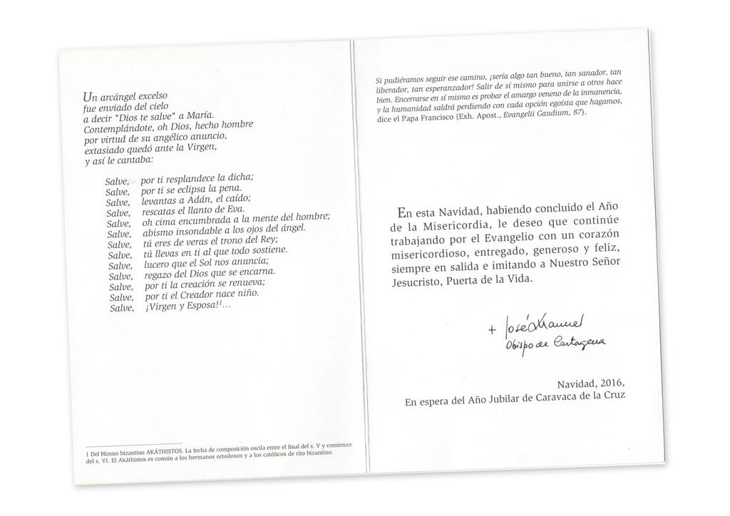 Postal de Navidad Obispado de Cartagena, Don José Manuel Lorca Planes (2016)