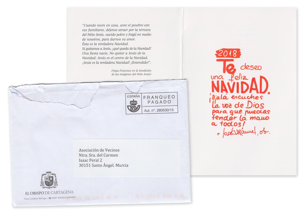 Postal de Navidad Obispo de Cartagena, Don José Manuel Lorca Planes 2017