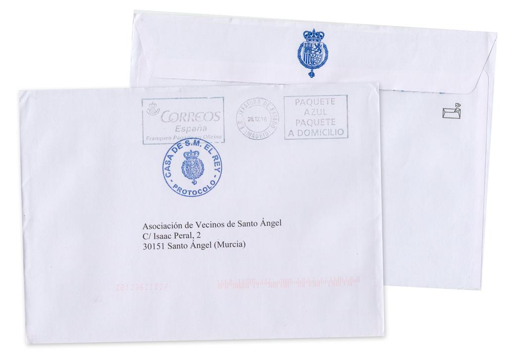 Sobre del postal de Navidad la Casa Real 2018