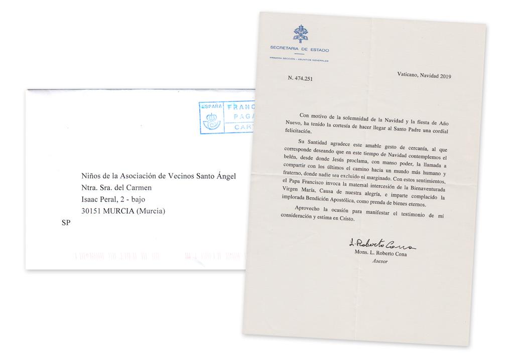 Carta de felicitación de Navidad del Vaticano 2019