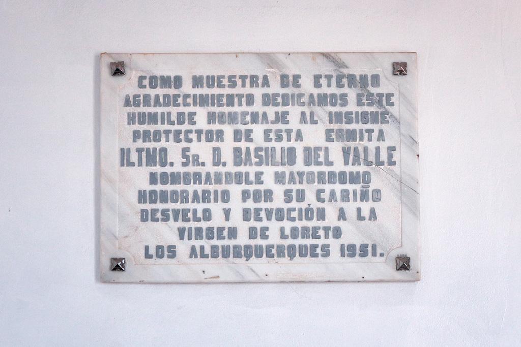 placa en la ermita Virgen de Loreto