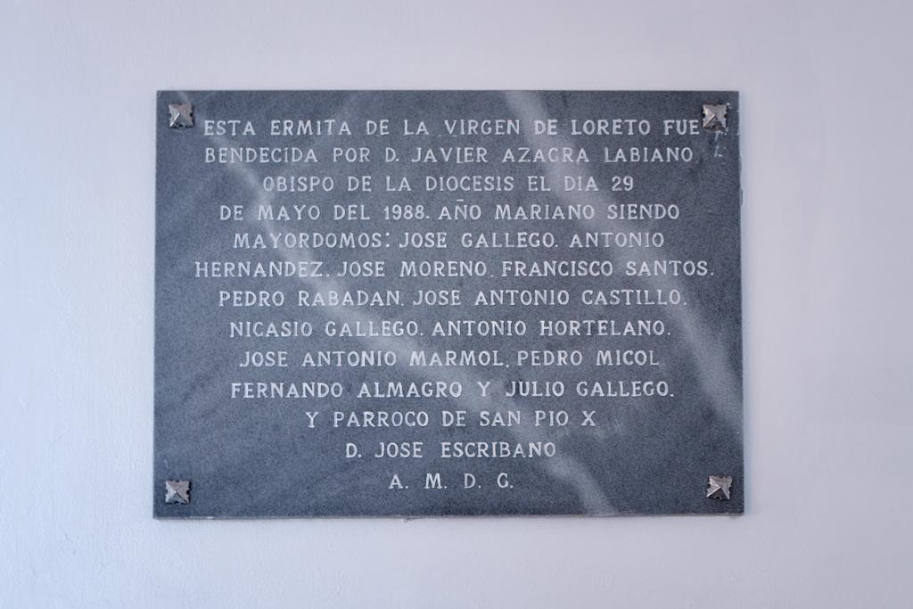 Placa ermita nuestra señora de Loreto