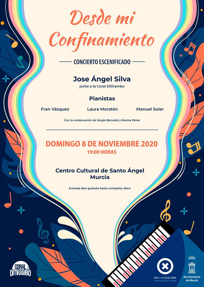 Cartel concierto Desde mir Confinamiento del coral Ditirambo y cantante Jose Ángel Silva