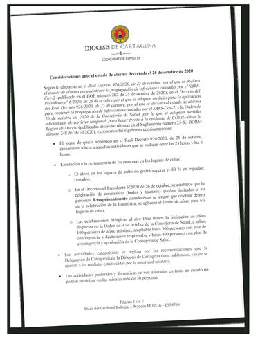 Consideraciones Estado de Alarma 25 de octubre 2020