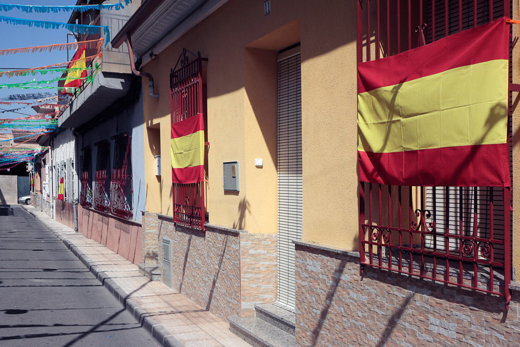 Decorated houses during the Fiestas Patronales in July