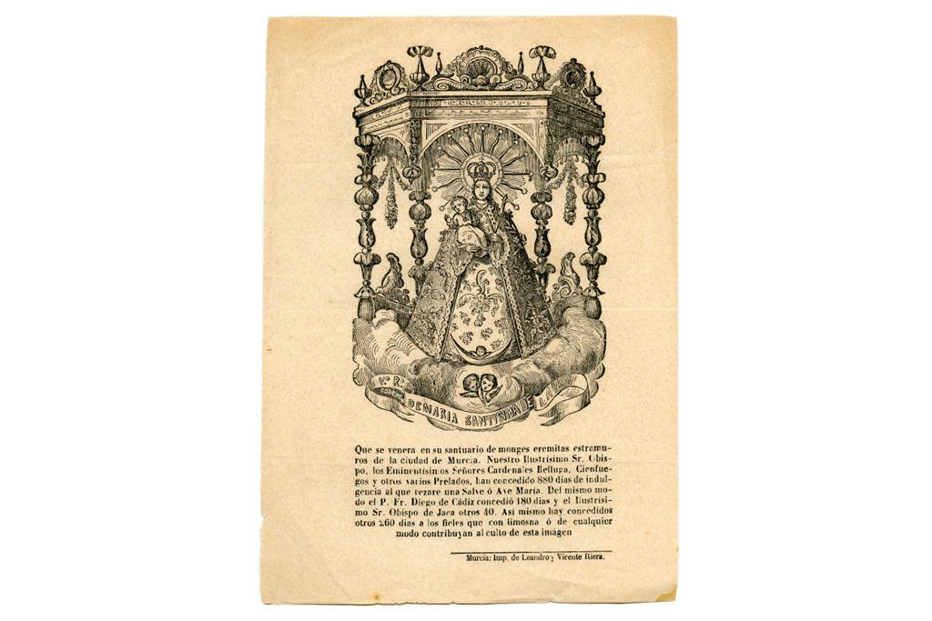 Litografía con la imagen de María Santísima de la Luz en el santuario de monjes eremitas de Murcia (Siglo XIX)